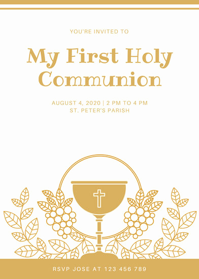 First Communion Invitation Template Elegant Customize 198 First Munion Invitation Templates Online