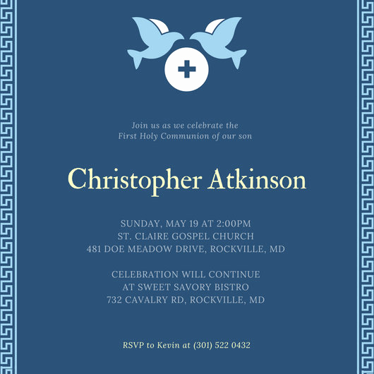 First Communion Invitation Template Fresh First Munion Invitation Templates Canva
