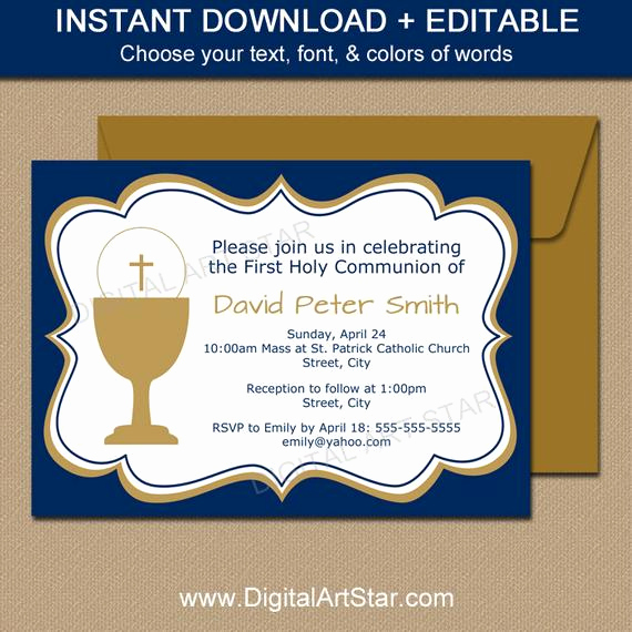 First Communion Invitation Template Inspirational First Munion Invitation Template Editable Navy & Gold