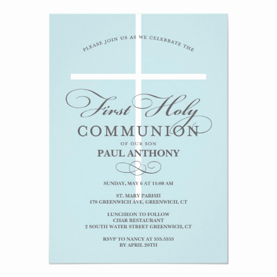First Communion Invitation Template Lovely First Holy Munion Invitation Blue