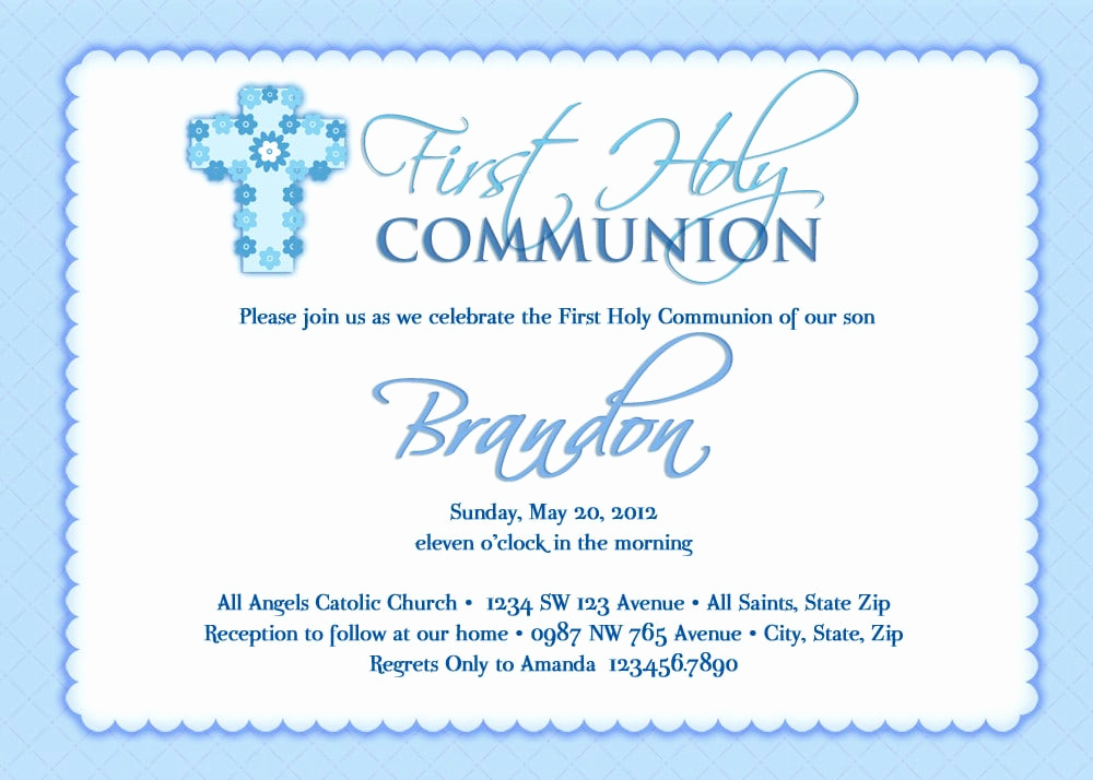 First Communion Invitation Template Luxury First Munion Invitation