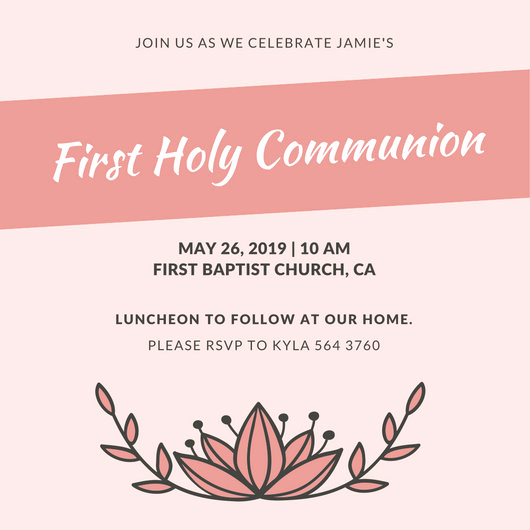 First Communion Invitation Template New Customize 198 First Munion Invitation Templates Online