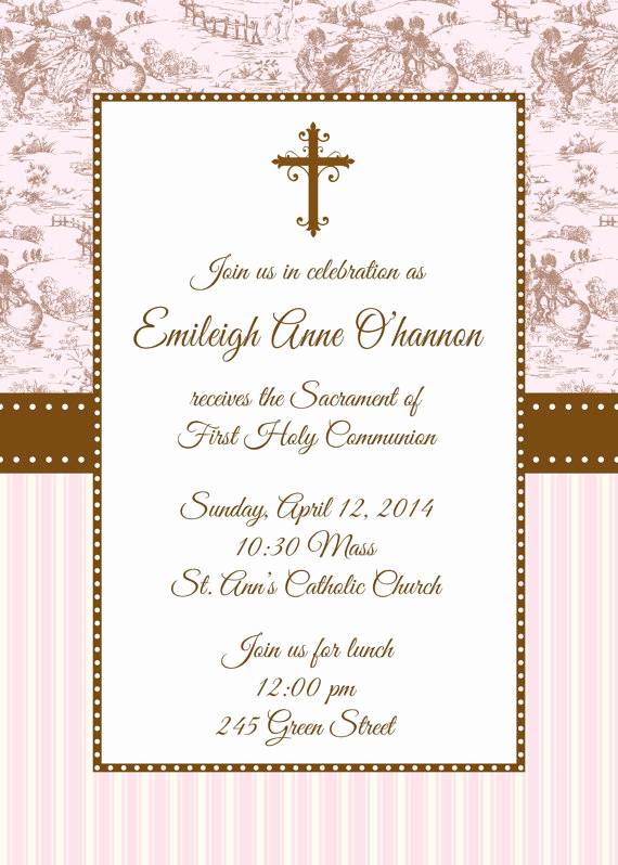 First Communion Invitation Template Unique First Holy Munion Invitation First Munion Invitation