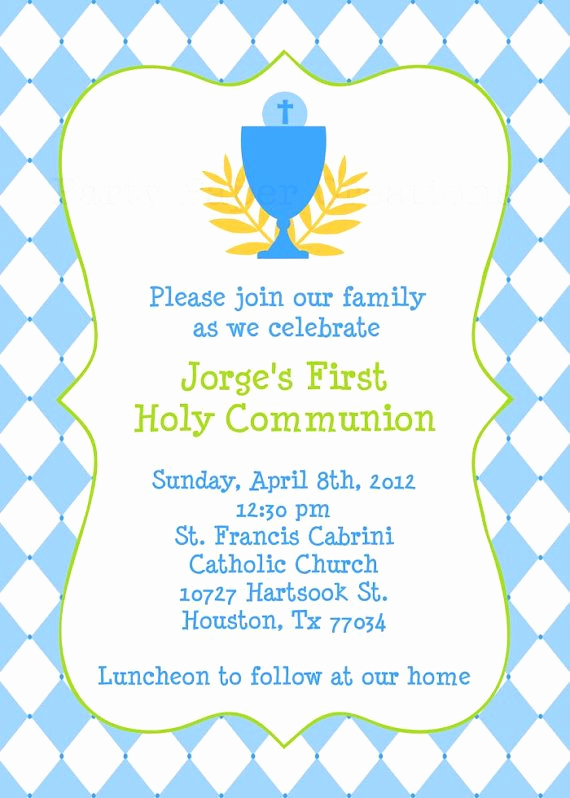 First Communion Invitation Templates Awesome Personalized Baptism Christening First Holy Munion