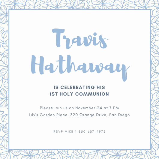First Communion Invitation Templates Fresh First Munion Invitation Templates Canva