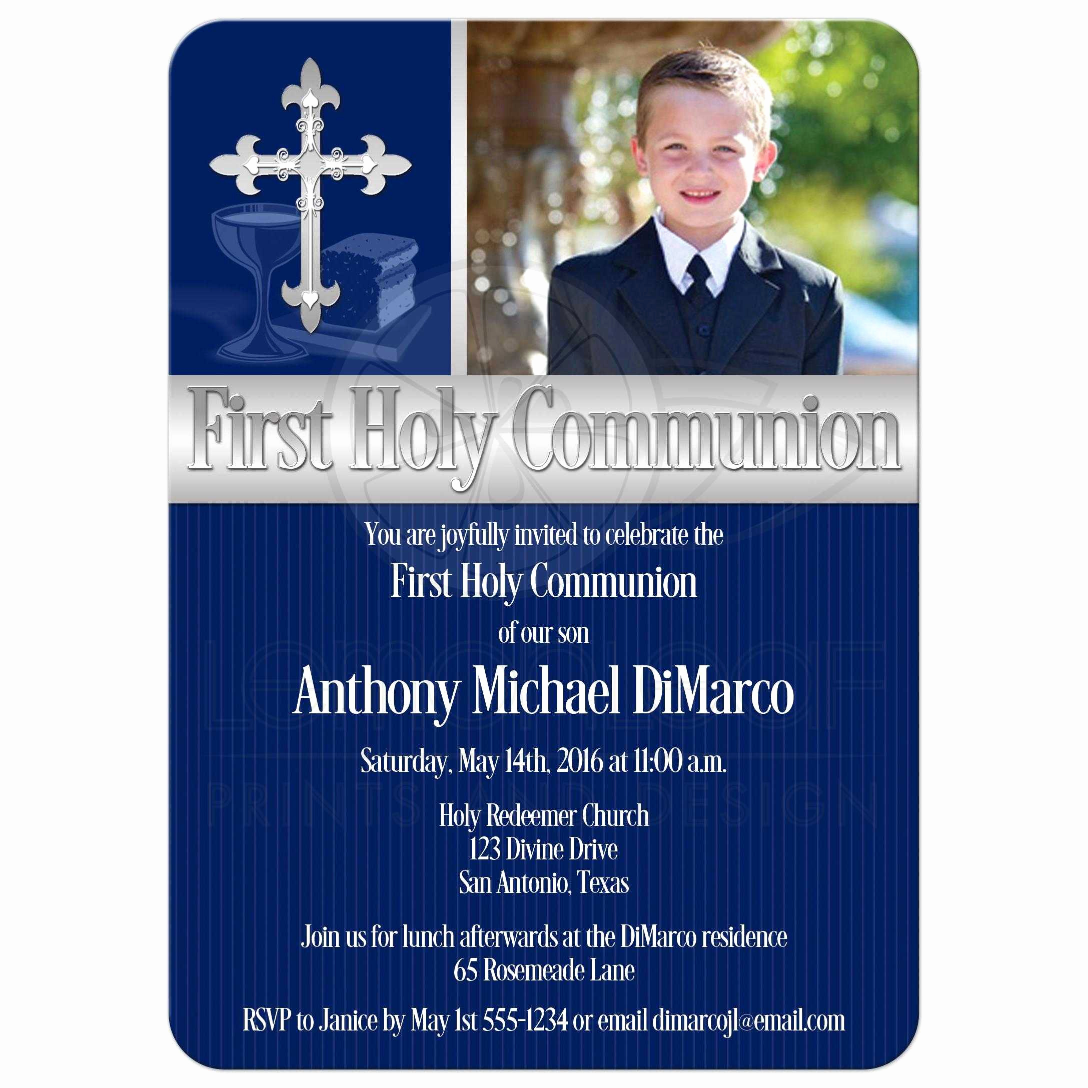 First Communion Invitation Templates Lovely First Holy Munion Invitation Template