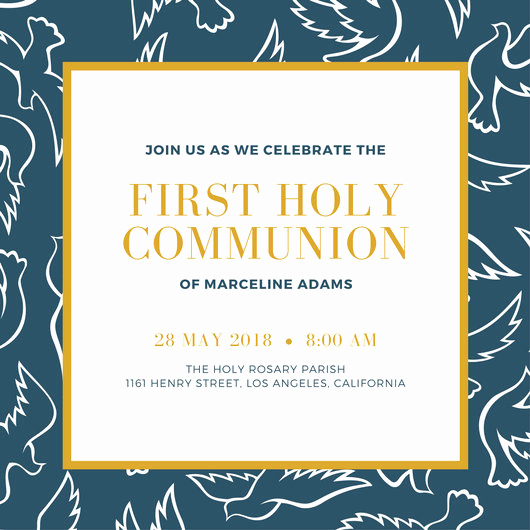 First Communion Invitation Templates Luxury First Munion Invitation Templates Canva