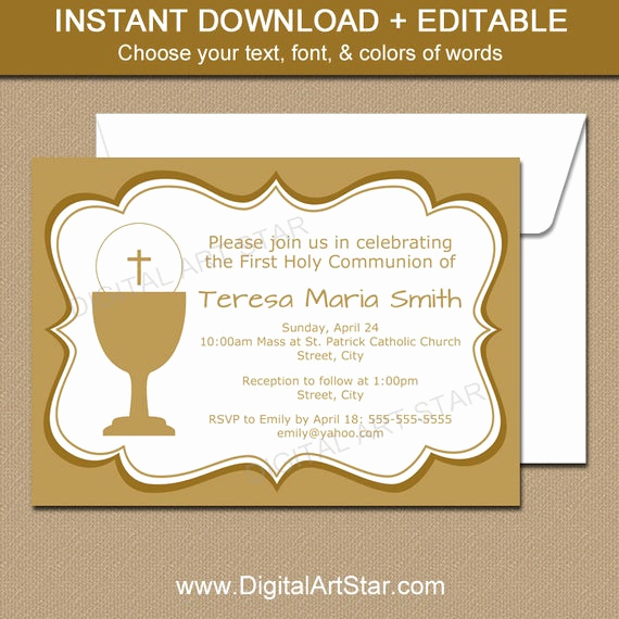 First Communion Invitation Templates New First Holy Munion Invitations Printable Gold First