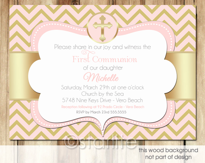 First Communion Invitation Wording Awesome Pink and Gold Chevron Girl First Munion Invitation by