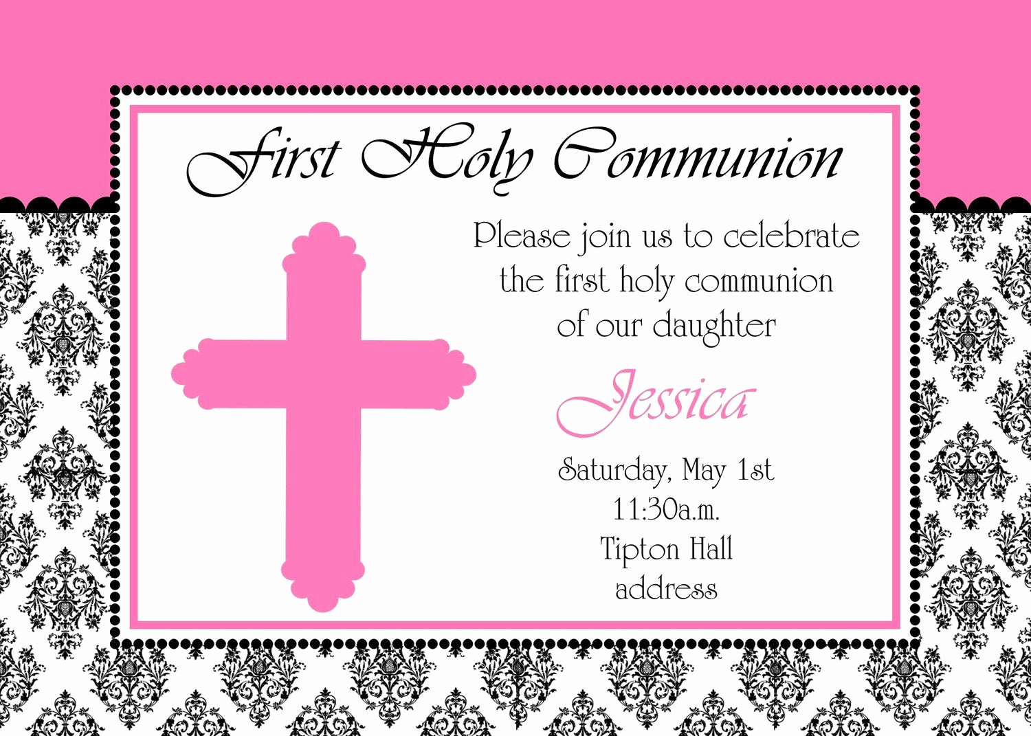 First Communion Invitation Wording Beautiful Girly First Holy Munion Invitation