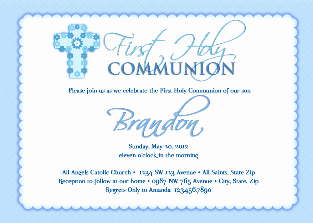 First Communion Invitation Wording Elegant Boy S First Munion Invitations Munion Invitations