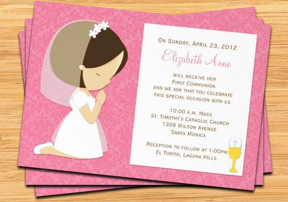 First Communion Invitation Wording Elegant First Munion Invitation for Girl Brown Hair by