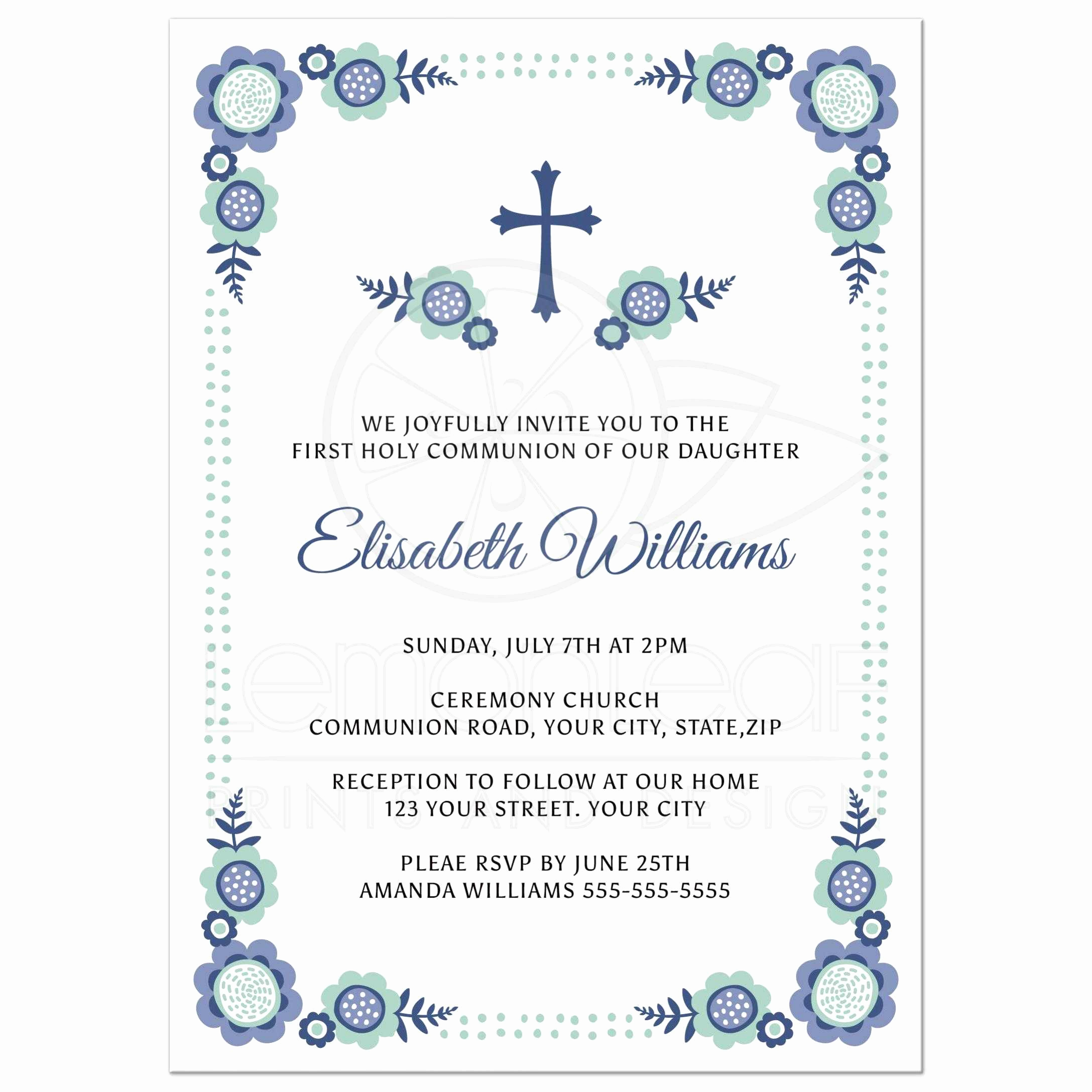 First Communion Invitation Wording Fresh Blue Bloom First Holy Munion Invitation with Cute