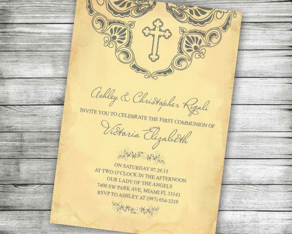 First Communion Invitation Wording Inspirational First Munion Baptism Invitation Yellow Christening