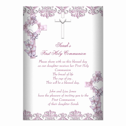 First Communion Invitation Wording Lovely First Holy Munion 1st Cross Girls White Pink Custom Invite