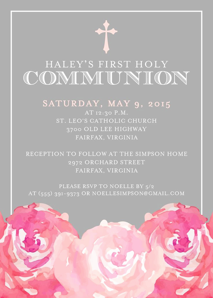 First Communion Invitation Wording Lovely First Munion Invitation First Holy Munion