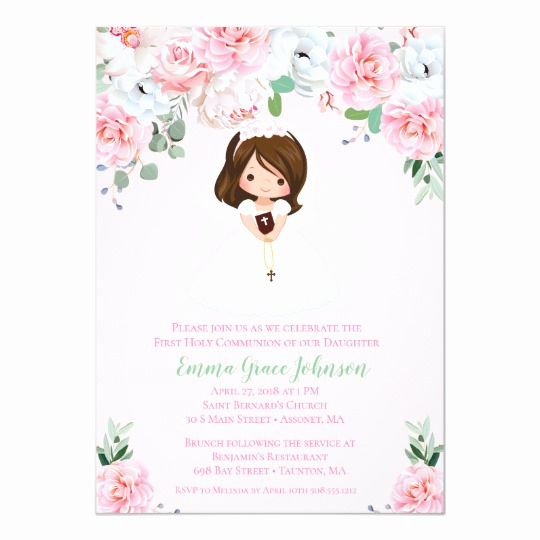 First Communion Invitation Wording Lovely Girl Floral First Munion Invitation