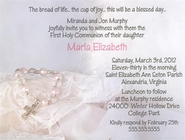 "First Communion Invitation Wording Luxury Baptism Cross ""first Holy Munion"" Invitations From"