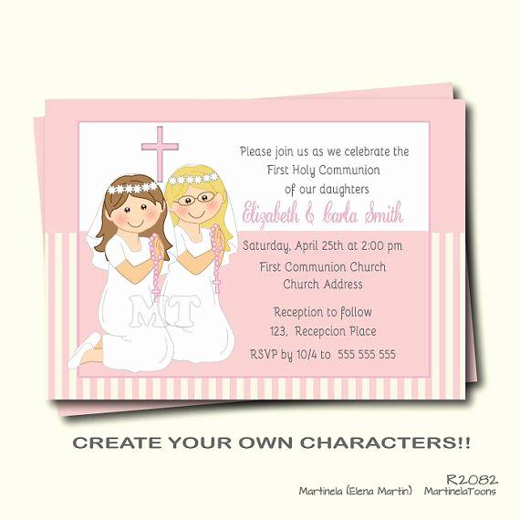 First Communion Invitation Wording Luxury First Munion Invitation Twin Girls First Holy