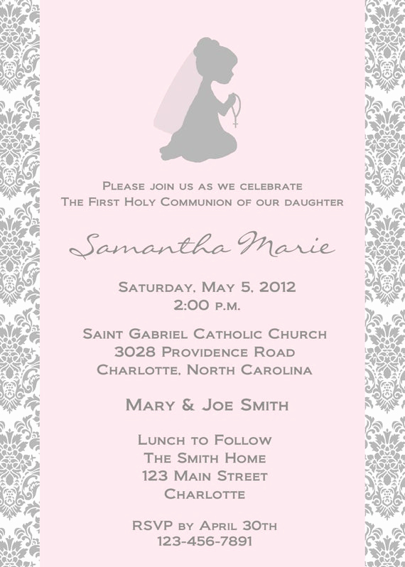 First Communion Invitation Wording New First Holy Munion Invitation Religious Invitation Holy