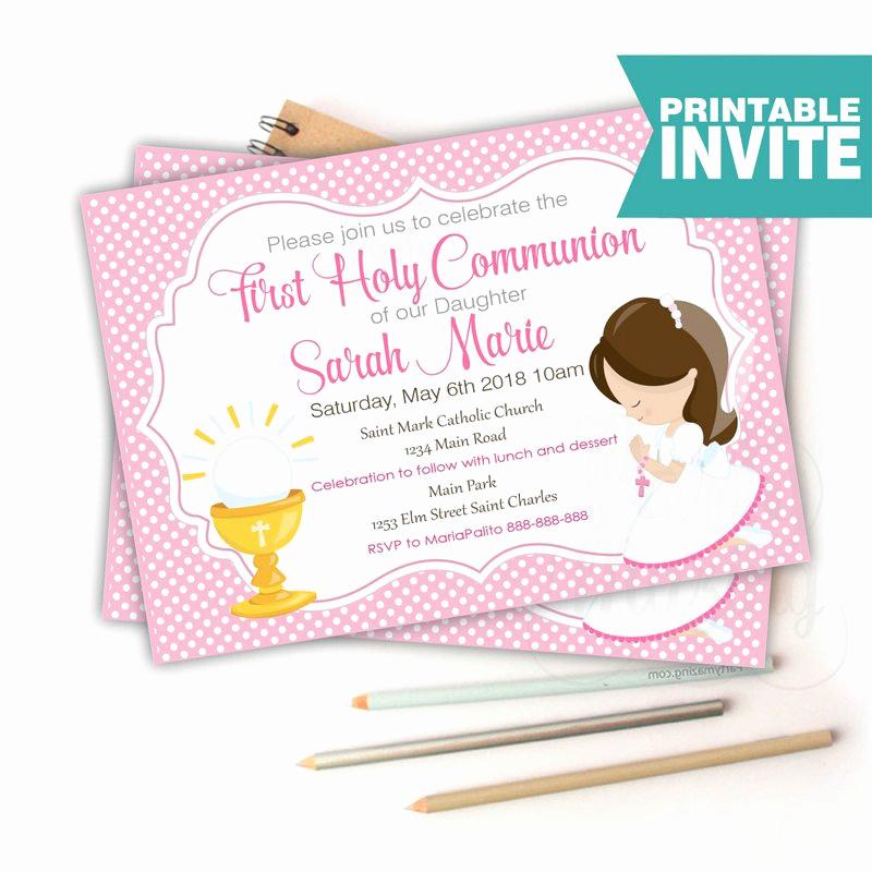 First Communion Invitation Wording Unique First Munion Invitation Printable Invitation Girl S