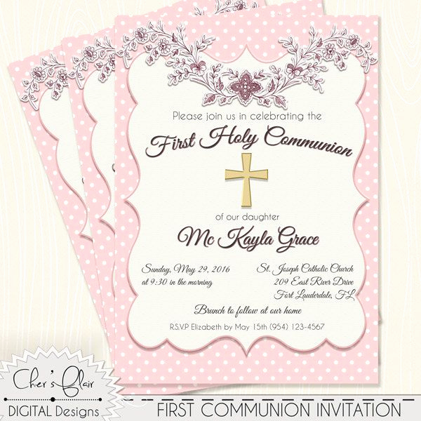 First Holy Communion Invitation Wordings Awesome 25 Best Ideas About Munion Invitations On Pinterest