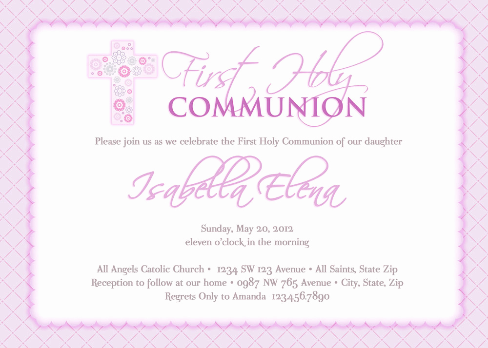 First Holy Communion Invitation Wordings Awesome Girl S First Munion Invitations Munion Invitations