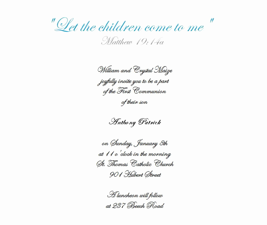 First Holy Communion Invitation Wordings Beautiful First Munion