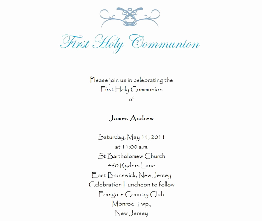 First Holy Communion Invitation Wordings Best Of First Munion Invitations 3 Wording