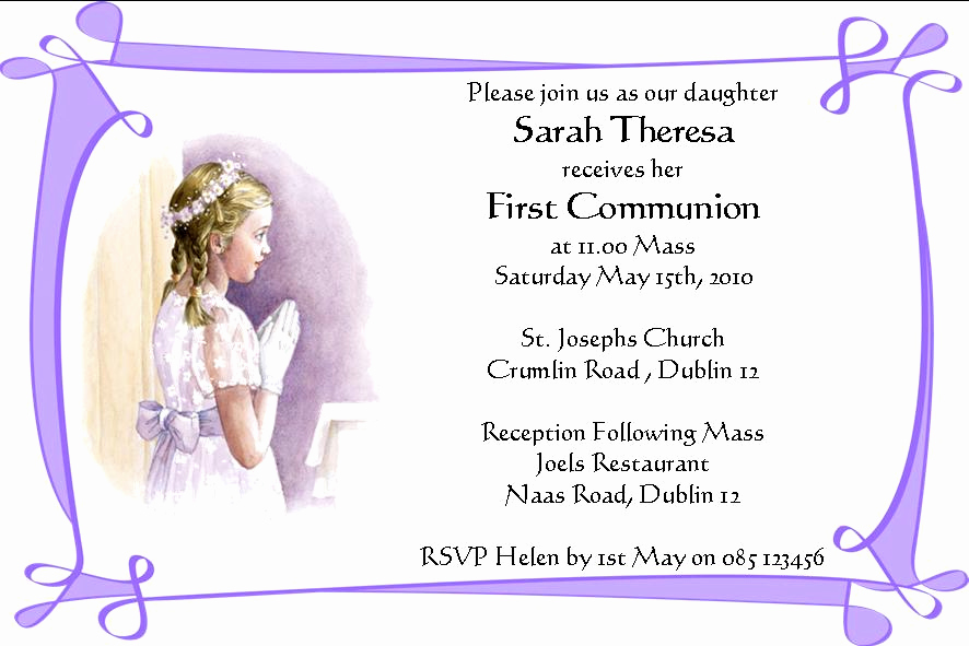 First Holy Communion Invitation Wordings Best Of Personalised First Munion Invitations Daughter