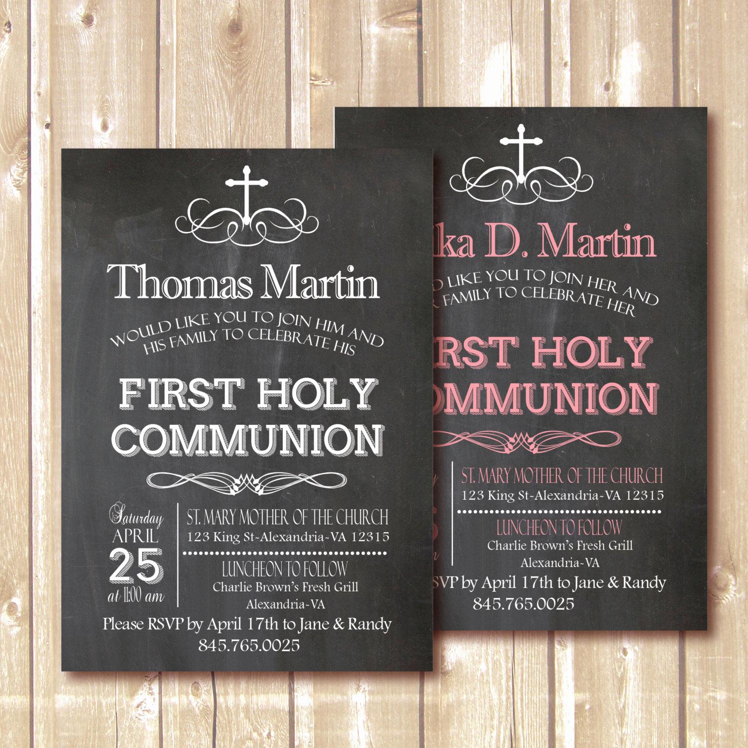 First Holy Communion Invitation Wordings Elegant Chalkboard Invitation First Munion Invitation by Pipetua