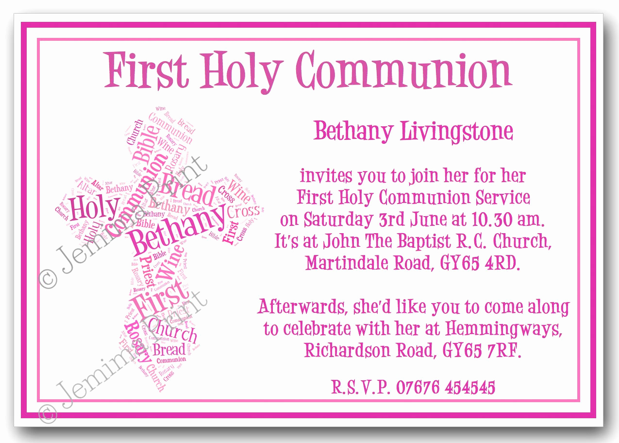 First Holy Communion Invitation Wordings Lovely First Holy Munion Word Art Invitations – Jemima Print