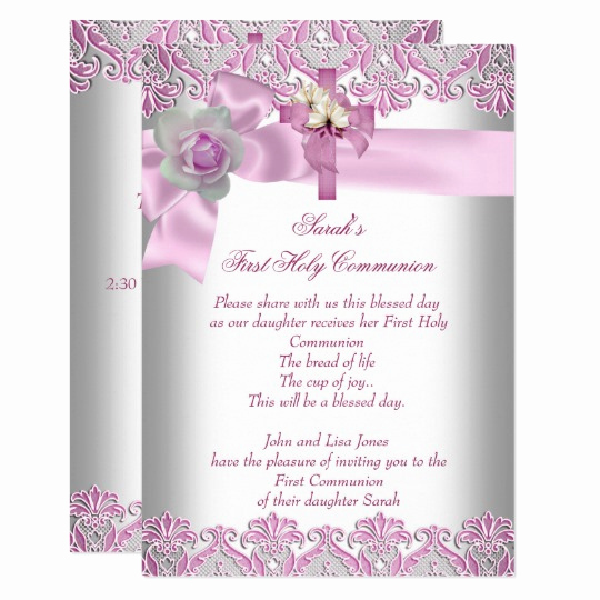 First Holy Communion Invitation Wordings Luxury First Holy Munion 1st Cross Girls White Pink Invitation