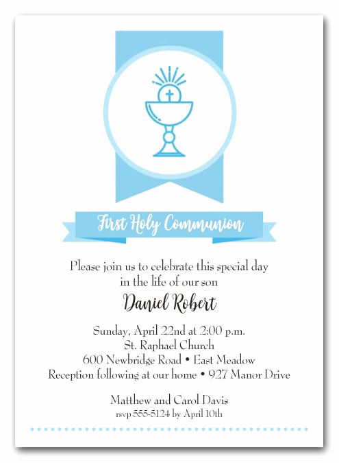 First Holy Communion Invitation Wordings New Blue Chalice Banner Boy S First Munion Invitations