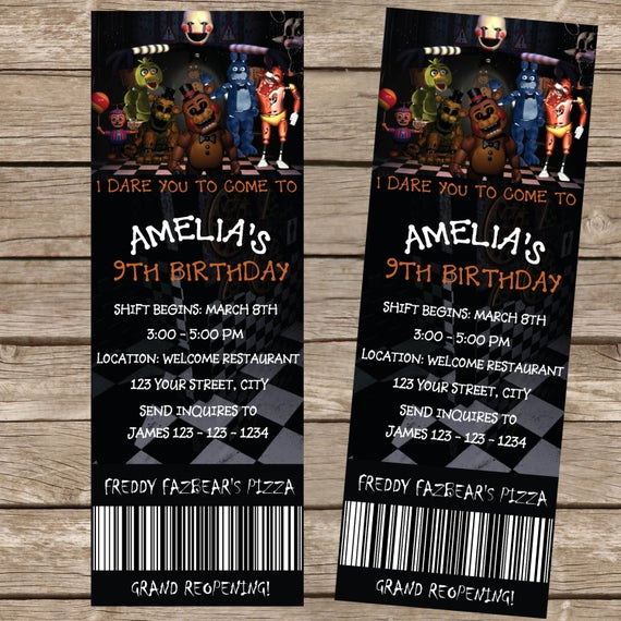 Five Nights at Freddy Invitation Awesome Five Nights at Freddy S Ticket Invitation Five by