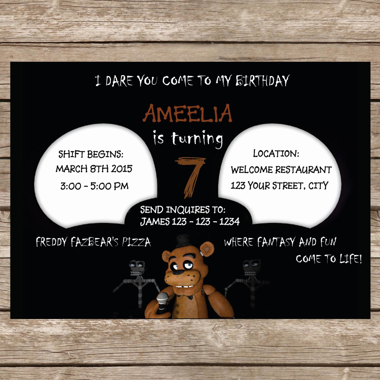 Five Nights at Freddy Invitation Beautiful Five Nights at Freddy S Invitation Five Nights by