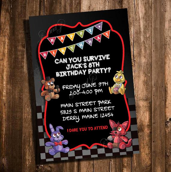 Five Nights at Freddy Invitation Beautiful Fnaf Five Nights at Freddy S Printable Birthday