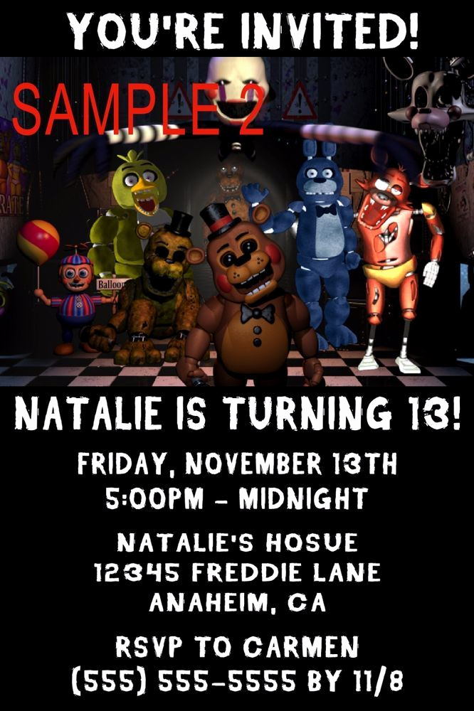Five Nights at Freddy Invitation Best Of 10 Five Nights at Freddy S Birthday Invitations