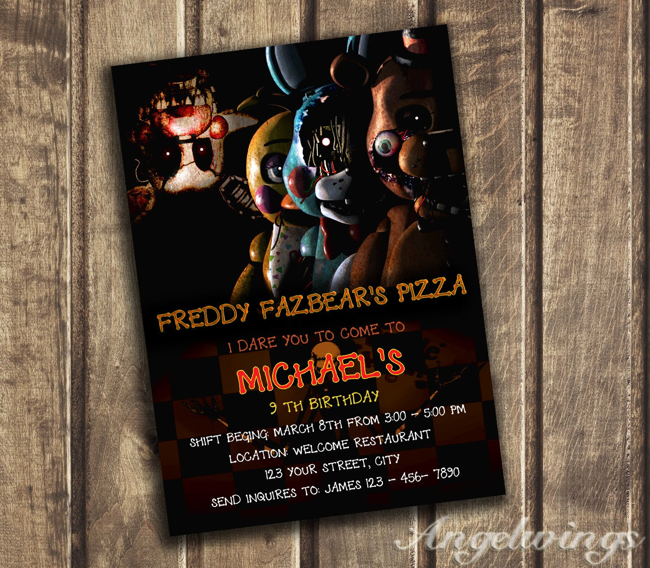 Five Nights at Freddy Invitation Best Of Five Nights at Freddy S Invitation Five Nights by