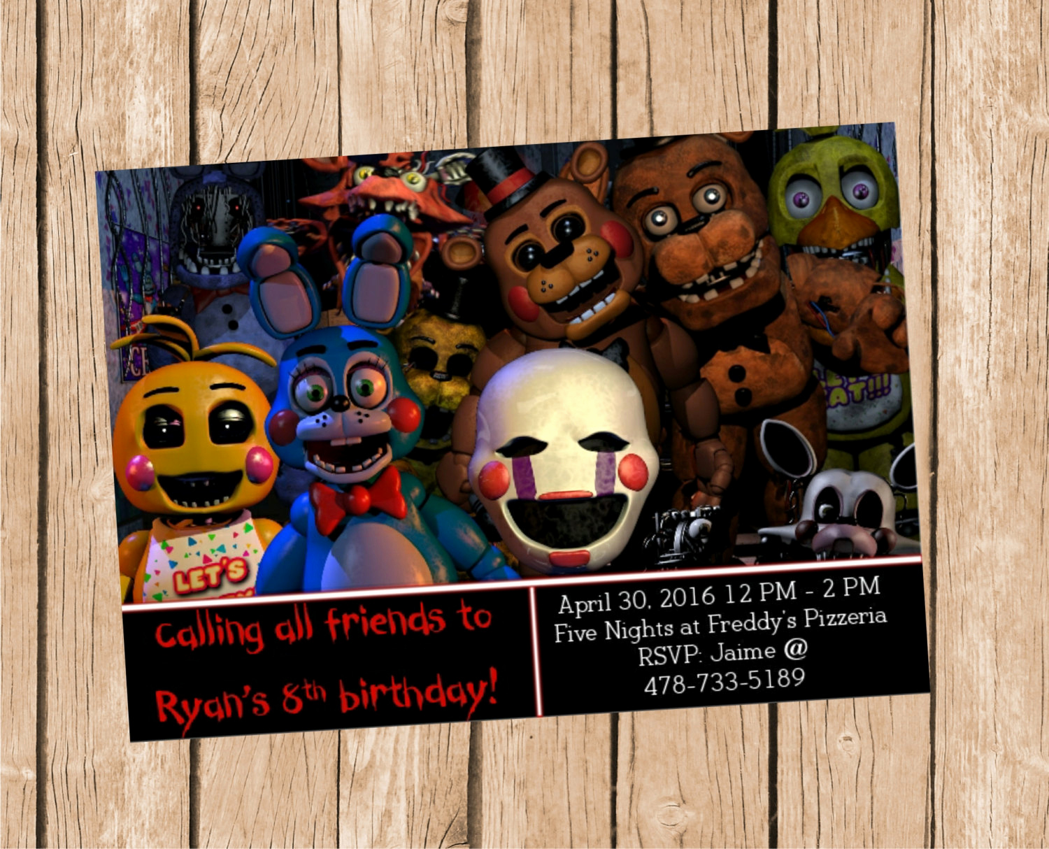 Five Nights at Freddy Invitation Best Of Five Nights at Freddy S Invitation
