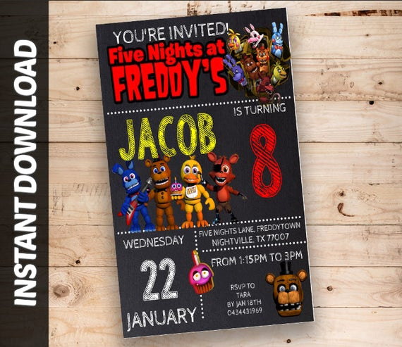 Five Nights at Freddy Invitation Elegant Fnaf Invitations Five Nights at Freddy S Invitations
