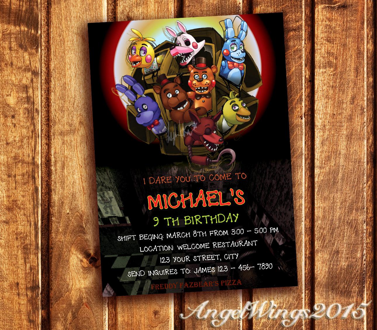 Five Nights at Freddy Invitation Fresh Five Nights at Freddy S Invitation Five Nights by