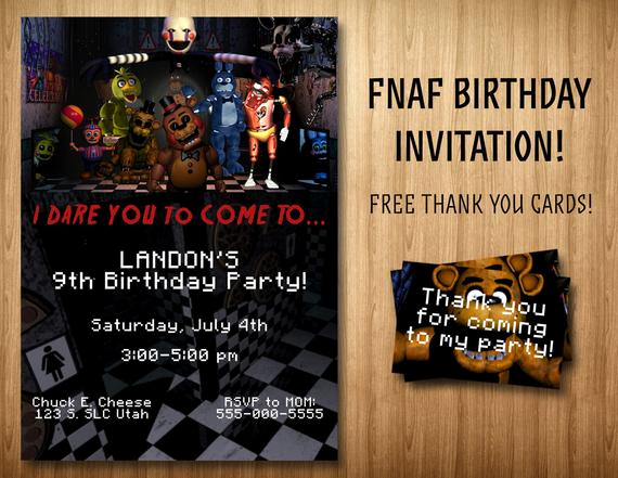 Five Nights at Freddy Invitation Inspirational Five Nights at Freddy S Invitation Bonus by