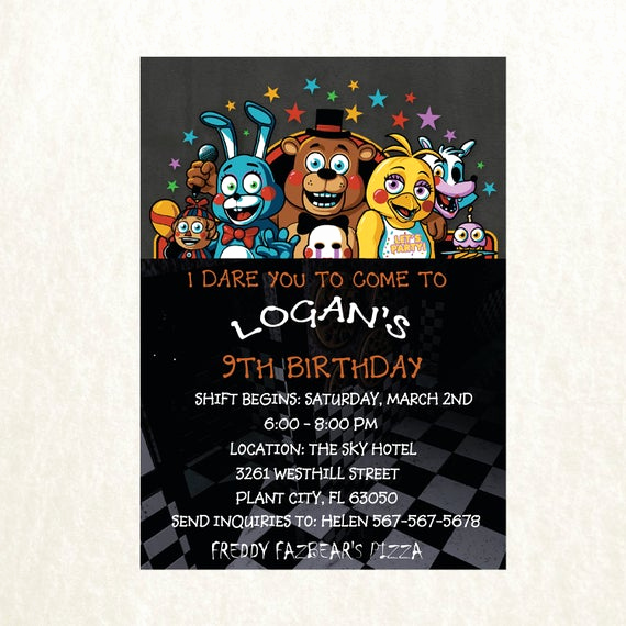 Five Nights at Freddy Invitation Inspirational Five Nights at Freddy S Invitation Five Nights by