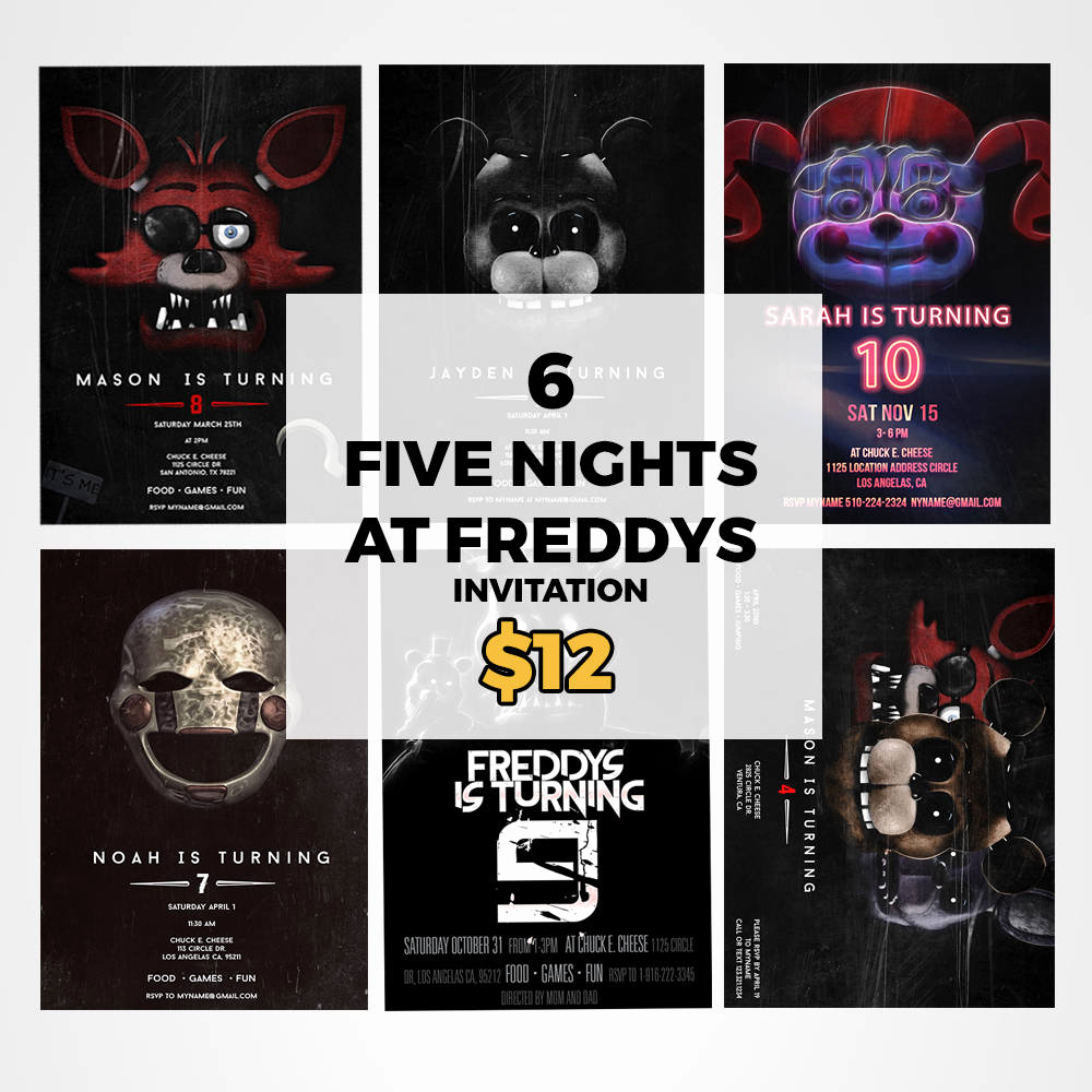 Five Nights at Freddy Invitation Lovely Five Night at Freddys Invitation Five Nights at Freddys Party