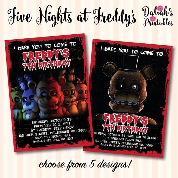 Five Nights at Freddy Invitation Lovely Five Nights at Freddy S Fnaf Invitation by Daliahsprintables