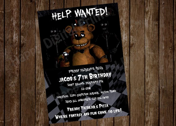 Five Nights at Freddy Invitation Luxury Five Nights at Freddy S Invitation Five by Happydigitalprints