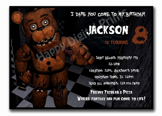 Five Nights at Freddy Invitation New Crafters On Etsy Also Got Caught Up In Freddy Fazbear S