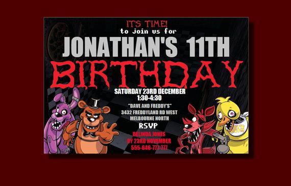 Five Nights at Freddy Invitation New Five Nights at Freddy S Birthday Invitation by