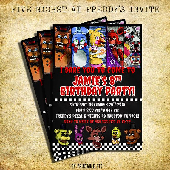 Five Nights at Freddy Invitation New Five Nights at Freddy S Birthday Invitation Five Nights